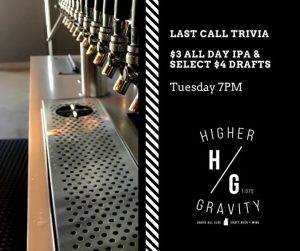 Tuesday Night Trivia w/ Last Call Trivia @ Higher Gravity | Cincinnati | OH | United States