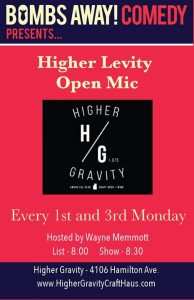 Bombs Away! Comedy - Higher Levity Open Mic at Higher Gravity @ Higher Gravity | Cincinnati | OH | United States
